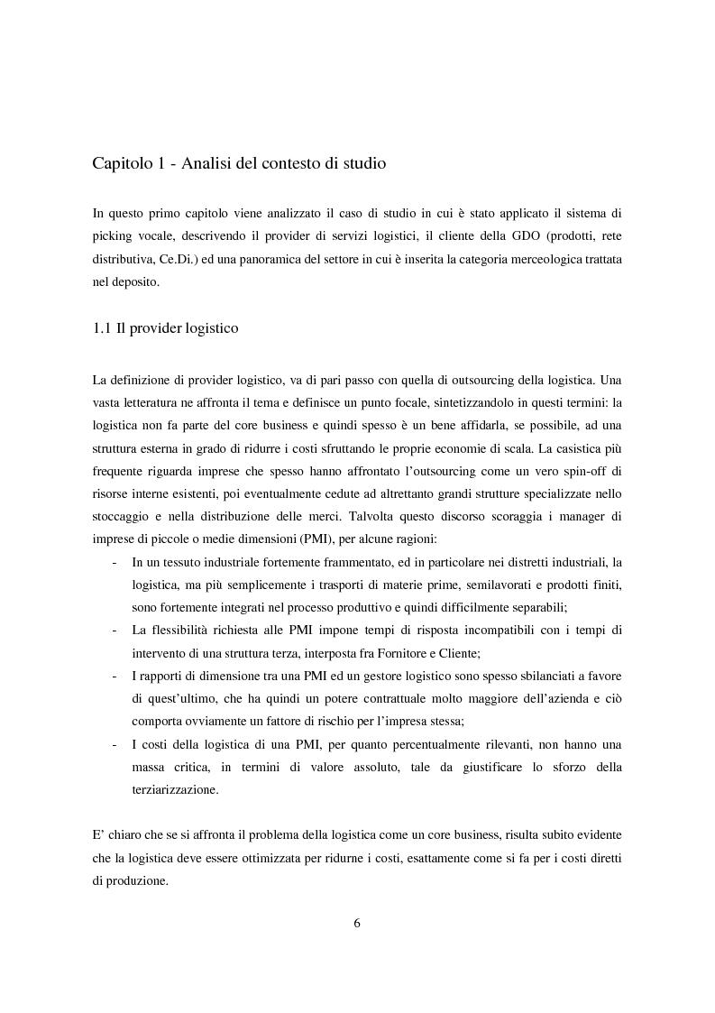 Anteprima della tesi: Introduzione della tecnologia Voice Picking in un Ce.Di. della G.D.O., Pagina 1