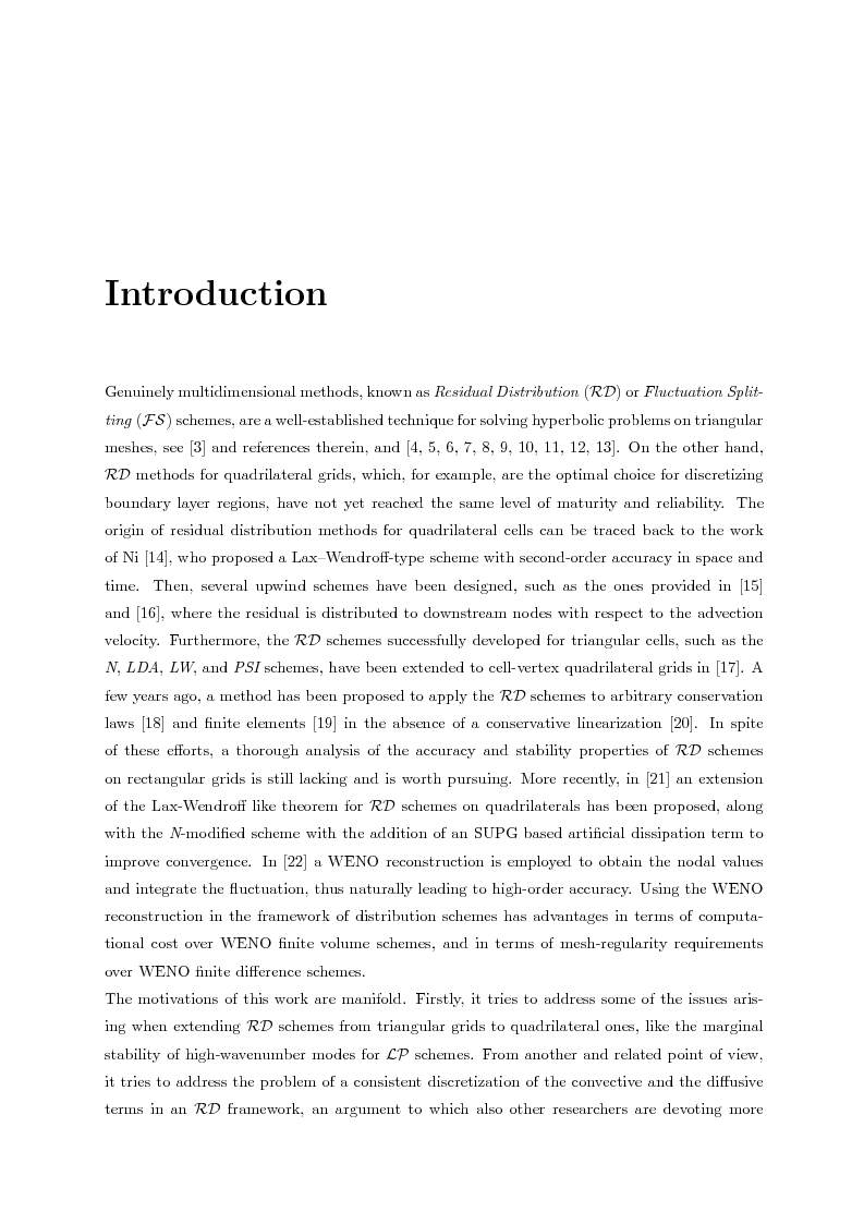 Anteprima della tesi: Residual distribution schemes for advection and advection-diffusion problems on quadrilateral and hybrid meshes, Pagina 2
