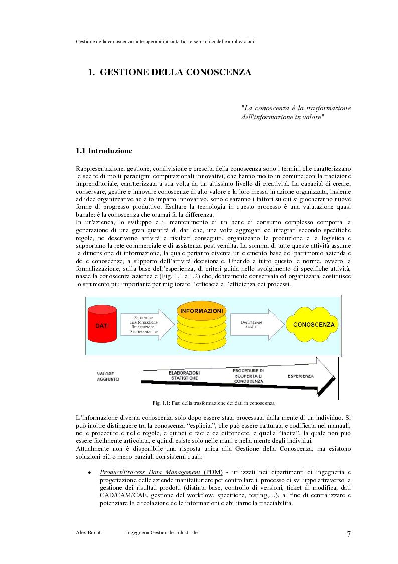 Anteprima della tesi: Gestione della conoscenza: interoperabilità sintattica e semantica delle applicazioni, Pagina 3