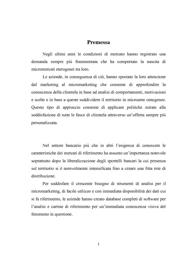 Anteprima della tesi: Geomarketing: un'applicazione alle agenzie bancarie di Roma, Pagina 1