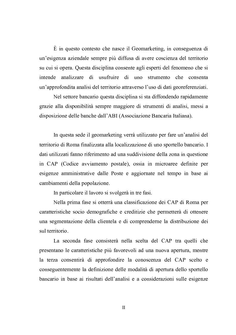 Anteprima della tesi: Geomarketing: un'applicazione alle agenzie bancarie di Roma, Pagina 2