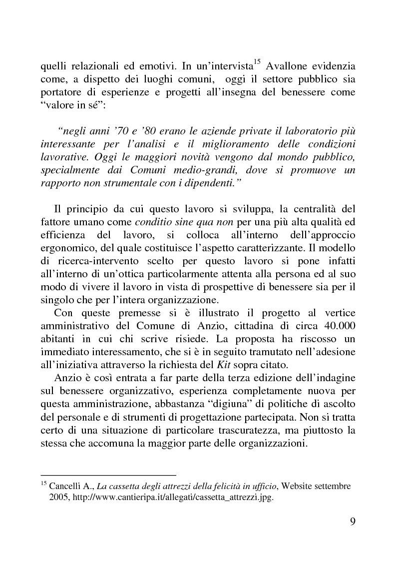 Anteprima della tesi: Benessere organizzativo e progettazione ergonomica: il caso del Comune di Anzio, Pagina 9