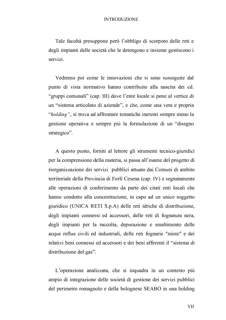 Anteprima della tesi: I conferimenti degli enti locali in attuazione della riforma sui servizi pubblici. La riorganizzazione dei comuni della provincia di Forlì-Cesena, Pagina 3