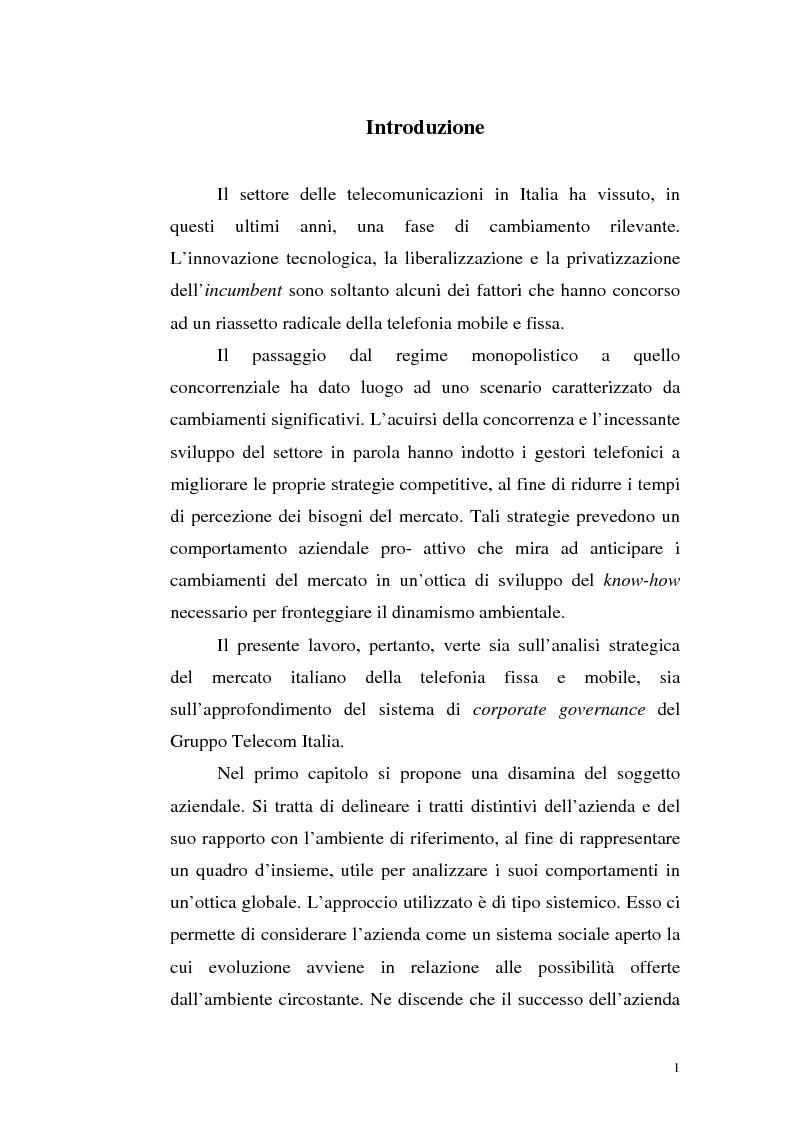 Anteprima della tesi: Il mercato della telefonia fissa in Italia dal monopolio alla competizione. Il caso di Telecom Italia., Pagina 1