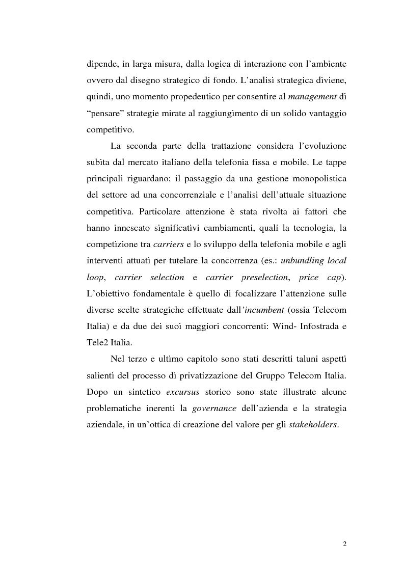 Anteprima della tesi: Il mercato della telefonia fissa in Italia dal monopolio alla competizione. Il caso di Telecom Italia., Pagina 2