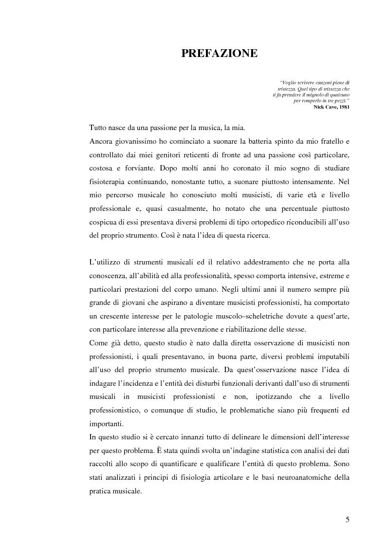 Anteprima della tesi: Le patologie muscolo-scheletriche nei musicisti: statistica ed esperienze riabilitative, Pagina 1