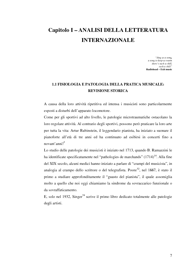 Anteprima della tesi: Le patologie muscolo-scheletriche nei musicisti: statistica ed esperienze riabilitative, Pagina 3