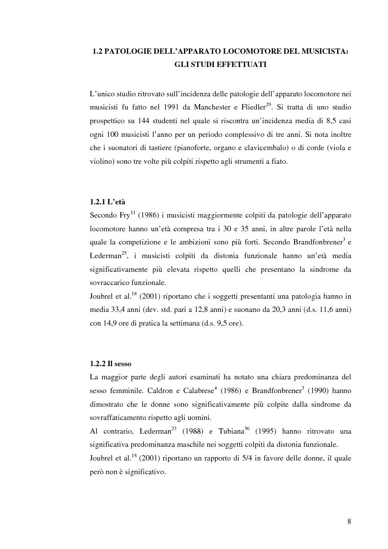 Anteprima della tesi: Le patologie muscolo-scheletriche nei musicisti: statistica ed esperienze riabilitative, Pagina 4
