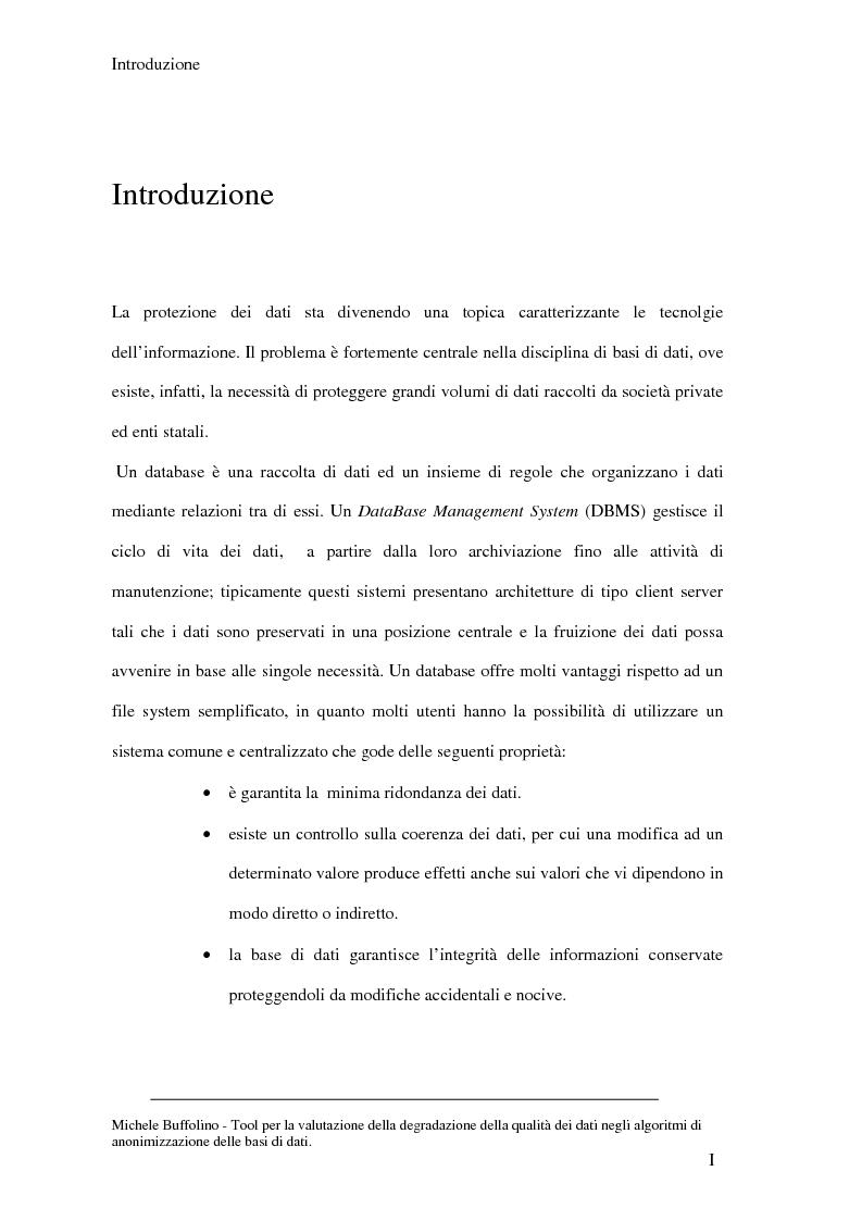 Anteprima della tesi: Tool perl la valutazione della degradazione della qualità dei dati negli algoritmi di anonimizzazione delle basi di dati, Pagina 1