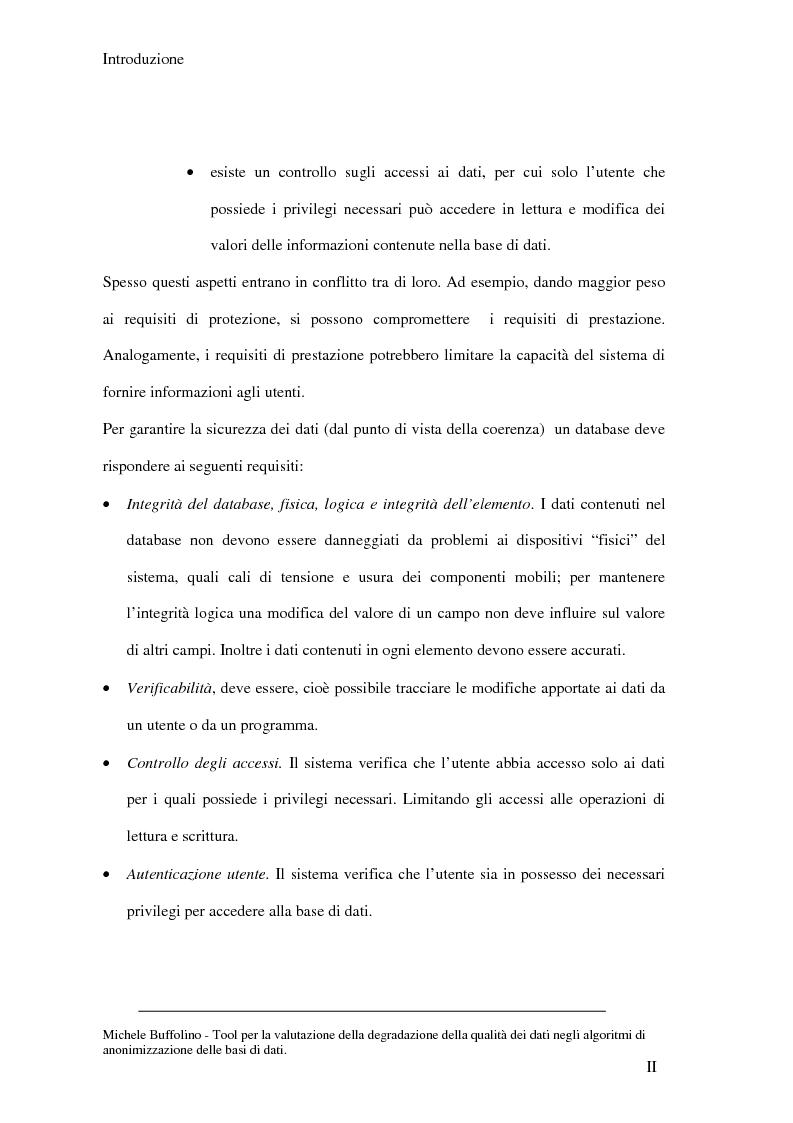 Anteprima della tesi: Tool perl la valutazione della degradazione della qualità dei dati negli algoritmi di anonimizzazione delle basi di dati, Pagina 2