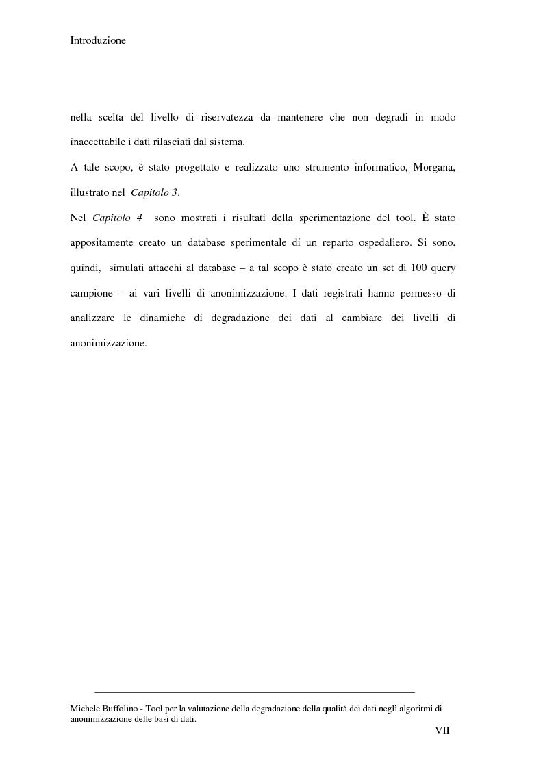 Anteprima della tesi: Tool perl la valutazione della degradazione della qualità dei dati negli algoritmi di anonimizzazione delle basi di dati, Pagina 7
