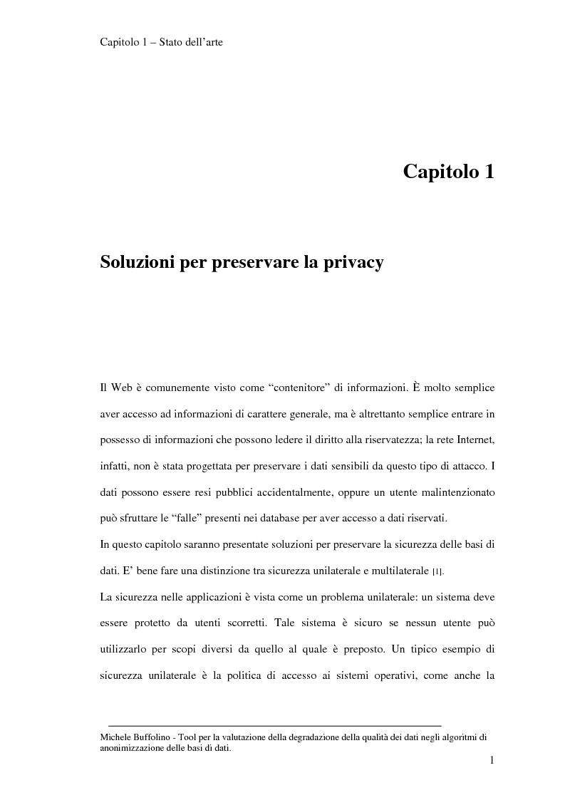 Anteprima della tesi: Tool perl la valutazione della degradazione della qualità dei dati negli algoritmi di anonimizzazione delle basi di dati, Pagina 8