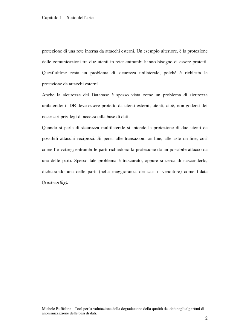 Anteprima della tesi: Tool perl la valutazione della degradazione della qualità dei dati negli algoritmi di anonimizzazione delle basi di dati, Pagina 9