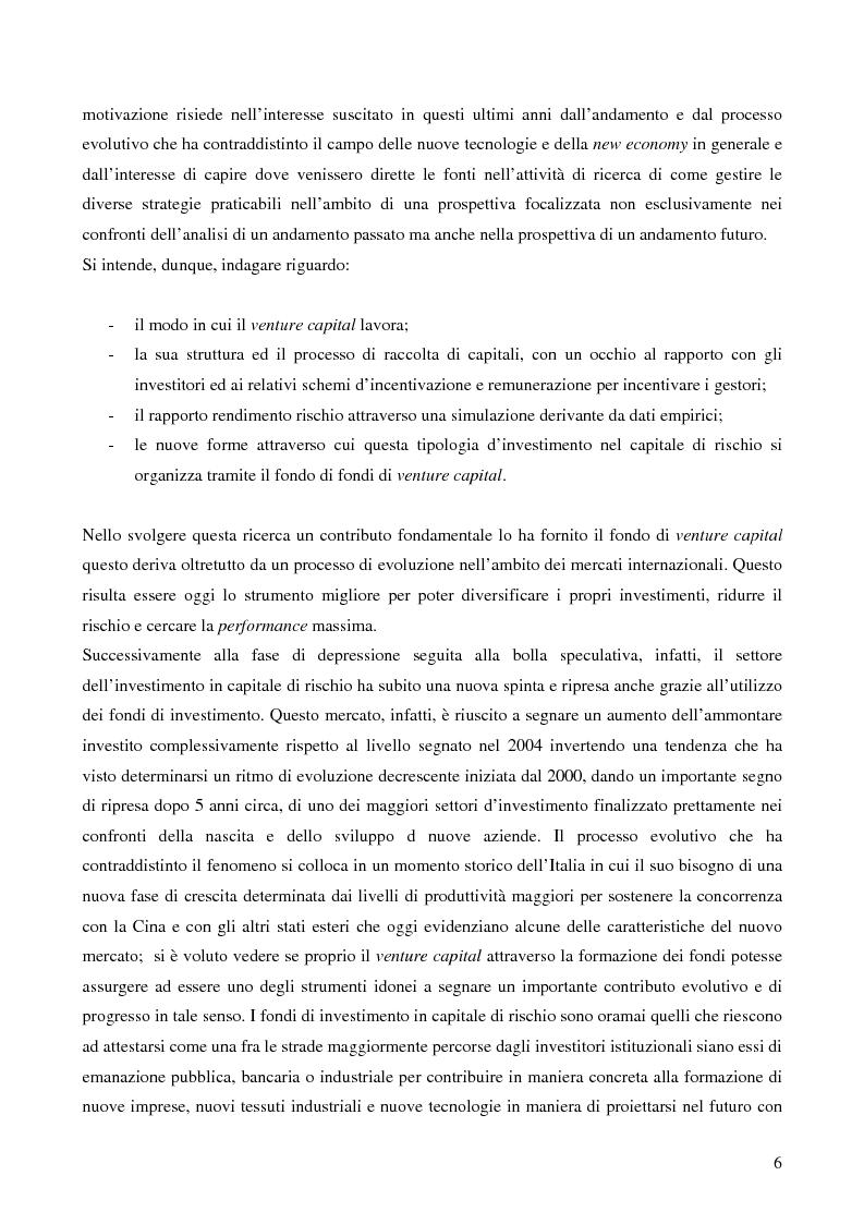 Anteprima della tesi: I fondi di fondi di venture capital e la loro attività di sostegno alle imprese, Pagina 3