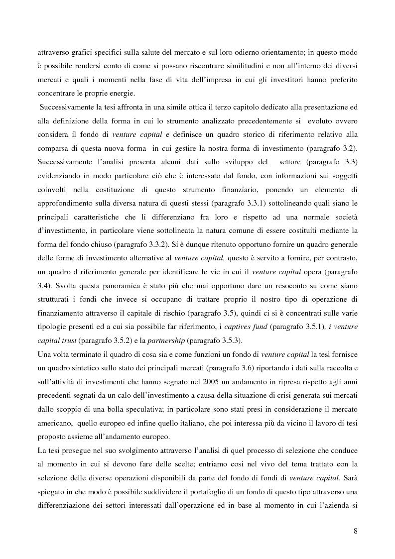 Anteprima della tesi: I fondi di fondi di venture capital e la loro attività di sostegno alle imprese, Pagina 5