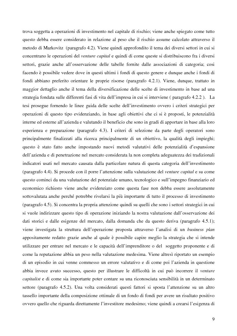 Anteprima della tesi: I fondi di fondi di venture capital e la loro attività di sostegno alle imprese, Pagina 6