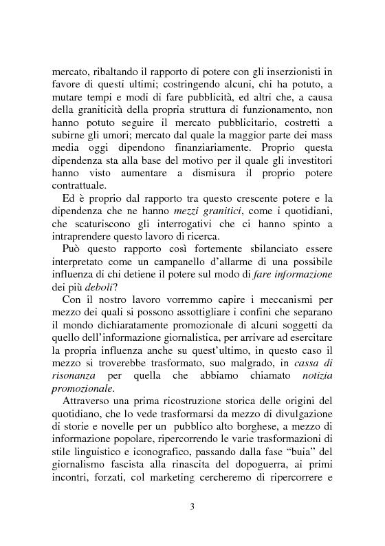 Anteprima della tesi: Notizia Promozionale, la notizia fra obiettivo pubblico e pubblico obiettivo, Pagina 3