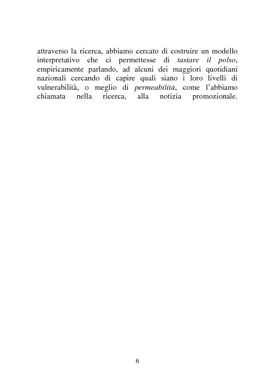 Anteprima della tesi: Notizia Promozionale, la notizia fra obiettivo pubblico e pubblico obiettivo, Pagina 6