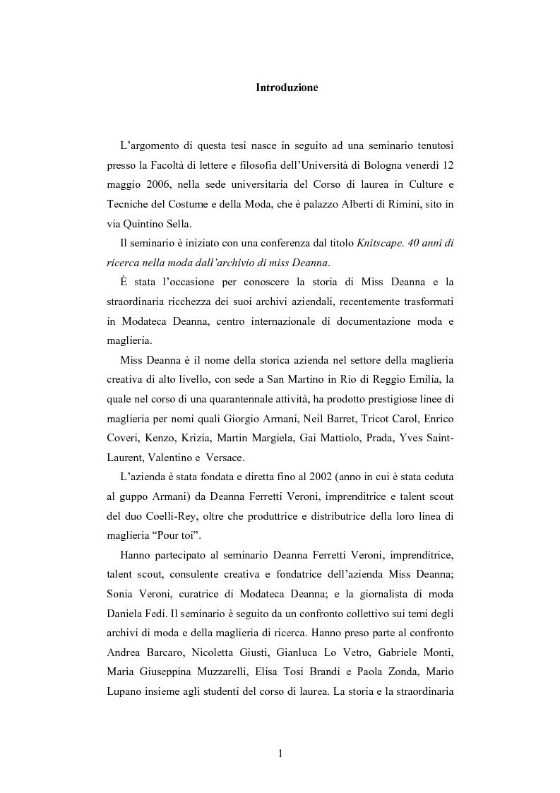 Anteprima della tesi: Maglia e sistema moda. L'esperienza di Miss Deanna Ferretti Veroni, Pagina 1