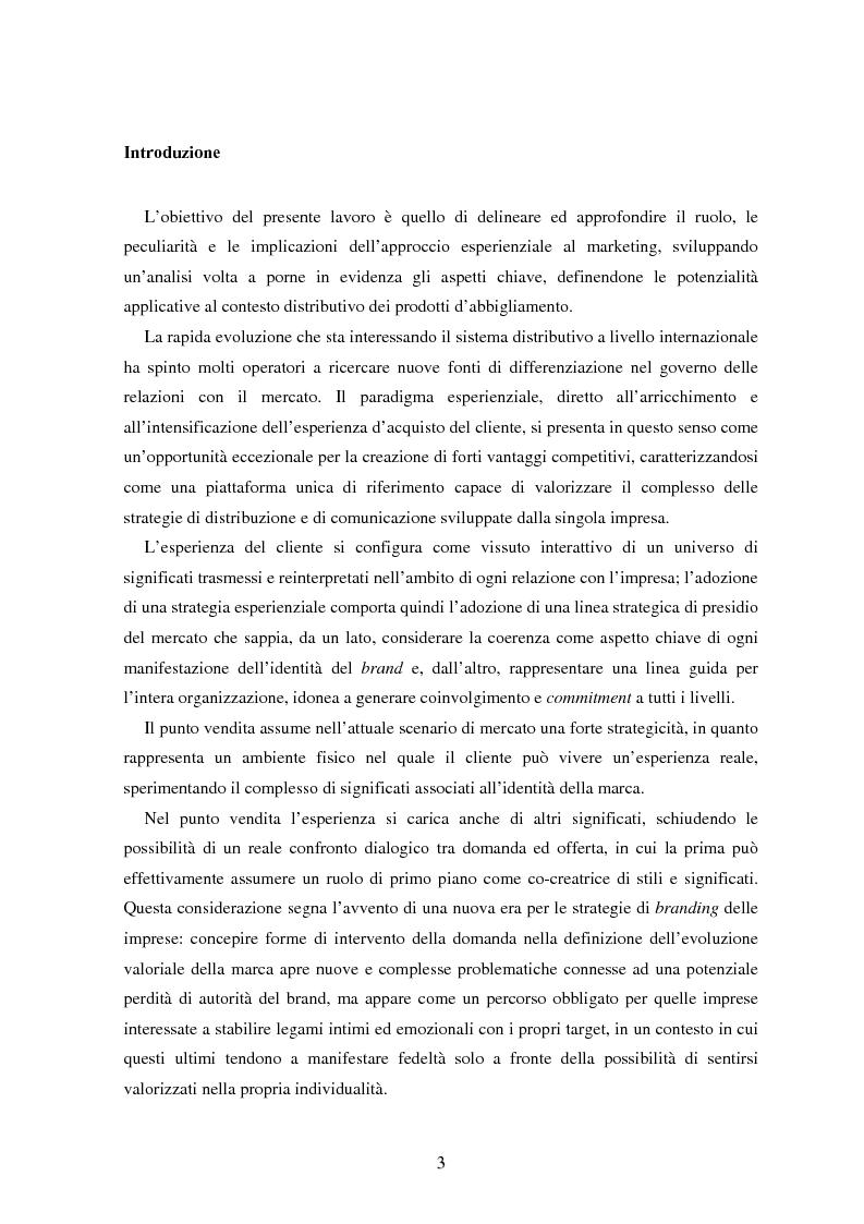 Anteprima della tesi: Marketing esperienziale e punto vendita nell'abbigliamento: aspetti concettuali ed applicativi, Pagina 1