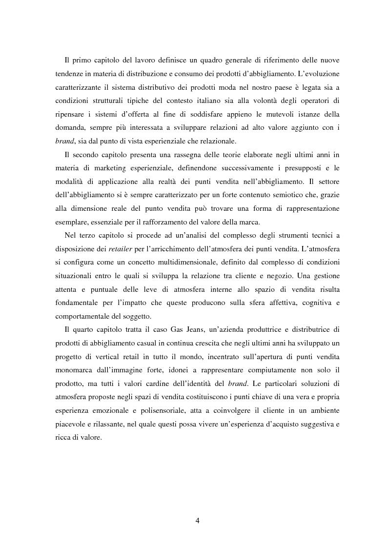 Anteprima della tesi: Marketing esperienziale e punto vendita nell'abbigliamento: aspetti concettuali ed applicativi, Pagina 2