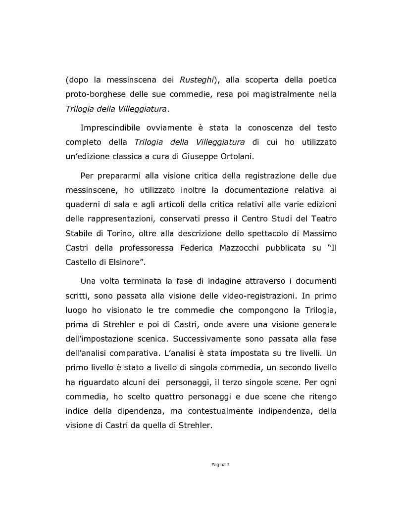 Anteprima della tesi: La Trilogia della Villeggiatura da Strehler a Castri, Pagina 3