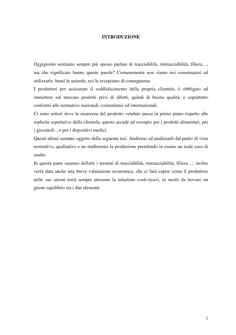 Anteprima della tesi: Dispositivi medici: certificazione, sicurezza e rintracciabilità, Pagina 1