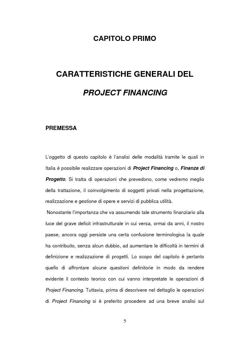 Anteprima della tesi: Un nuovo strumento di finanza innovativa: il Project Financing, Pagina 4
