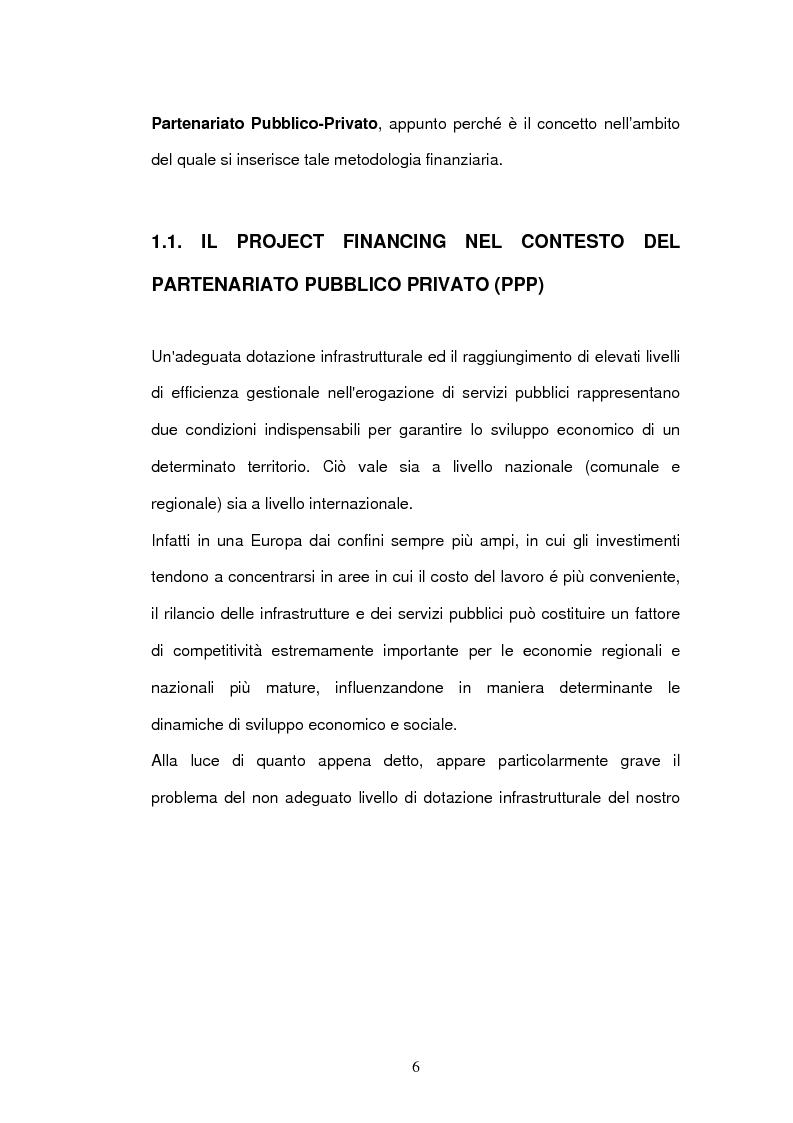 Anteprima della tesi: Un nuovo strumento di finanza innovativa: il Project Financing, Pagina 5