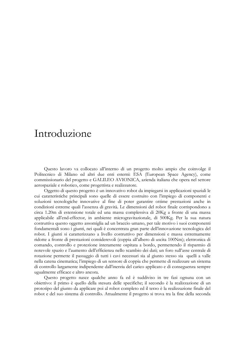 Anteprima della tesi: Modellistica e analisi delle prove sperimentali su un giunto robotico per applicazioni spaziali, Pagina 1