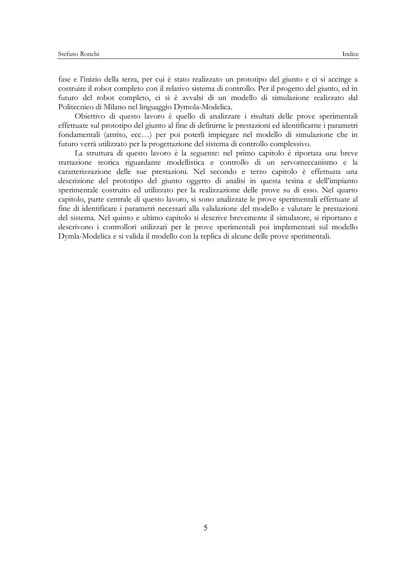 Anteprima della tesi: Modellistica e analisi delle prove sperimentali su un giunto robotico per applicazioni spaziali, Pagina 2