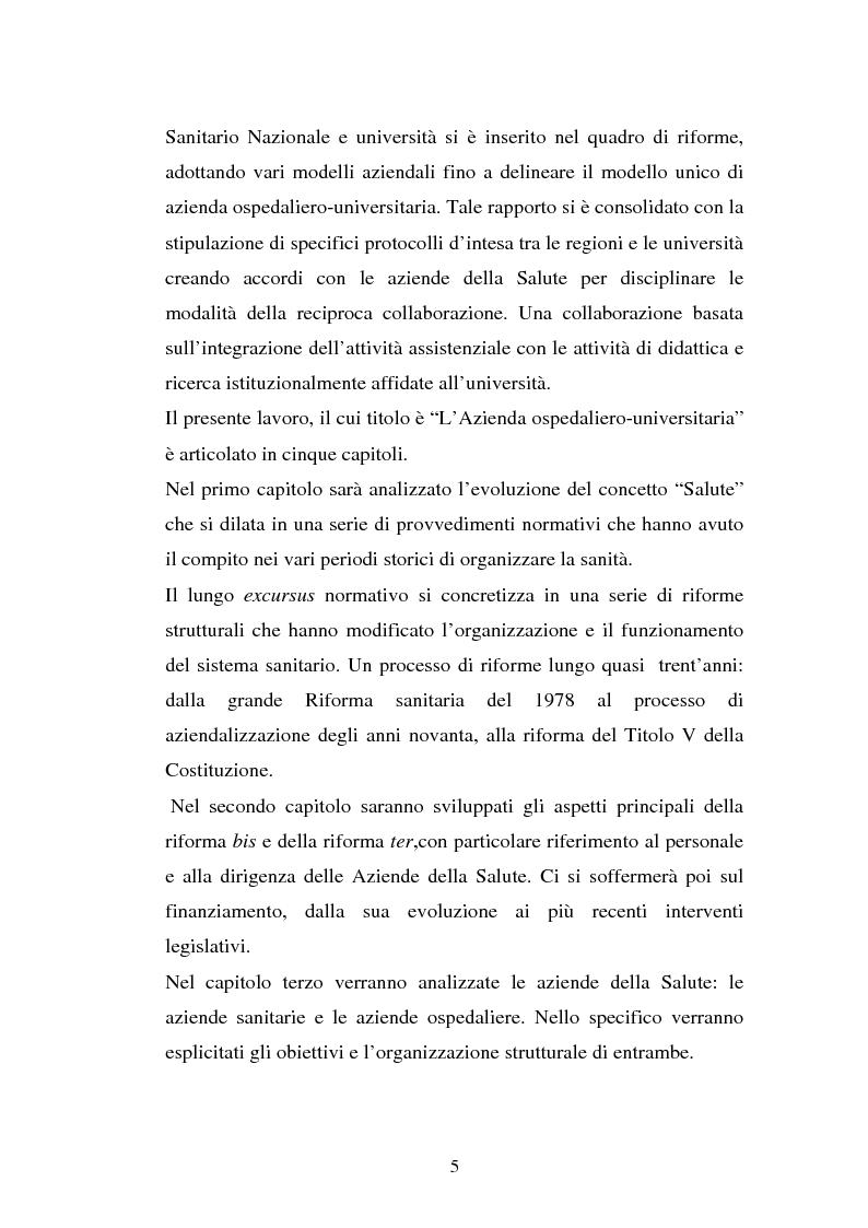 Anteprima della tesi: L'Azienda ospedaliera universitaria, Pagina 5