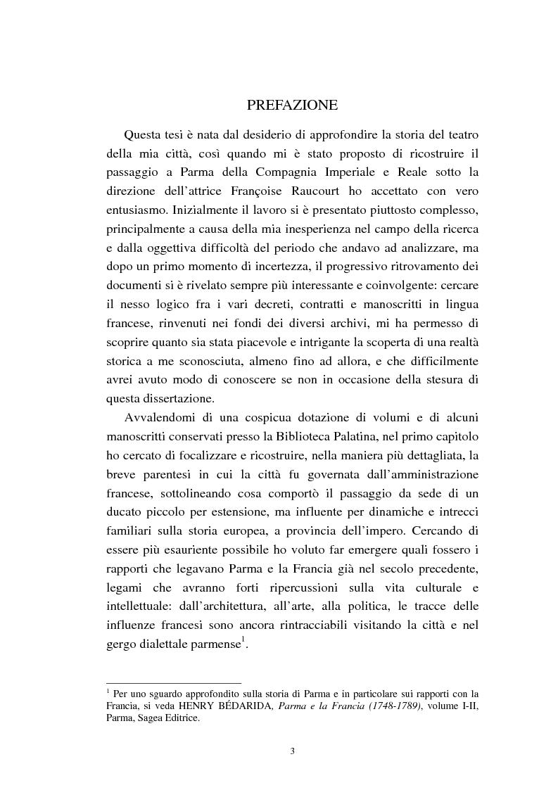 Anteprima della tesi: Mademoiselle Françoise Raucourt prima attrice della Comédie-Française e della Compagnia Imperiale e Reale a Parma (1807-1813), Pagina 1