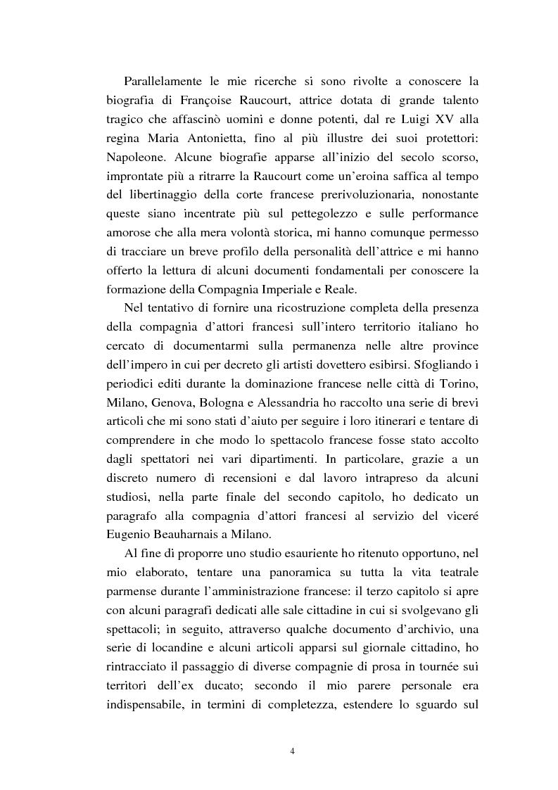 Anteprima della tesi: Mademoiselle Françoise Raucourt prima attrice della Comédie-Française e della Compagnia Imperiale e Reale a Parma (1807-1813), Pagina 2