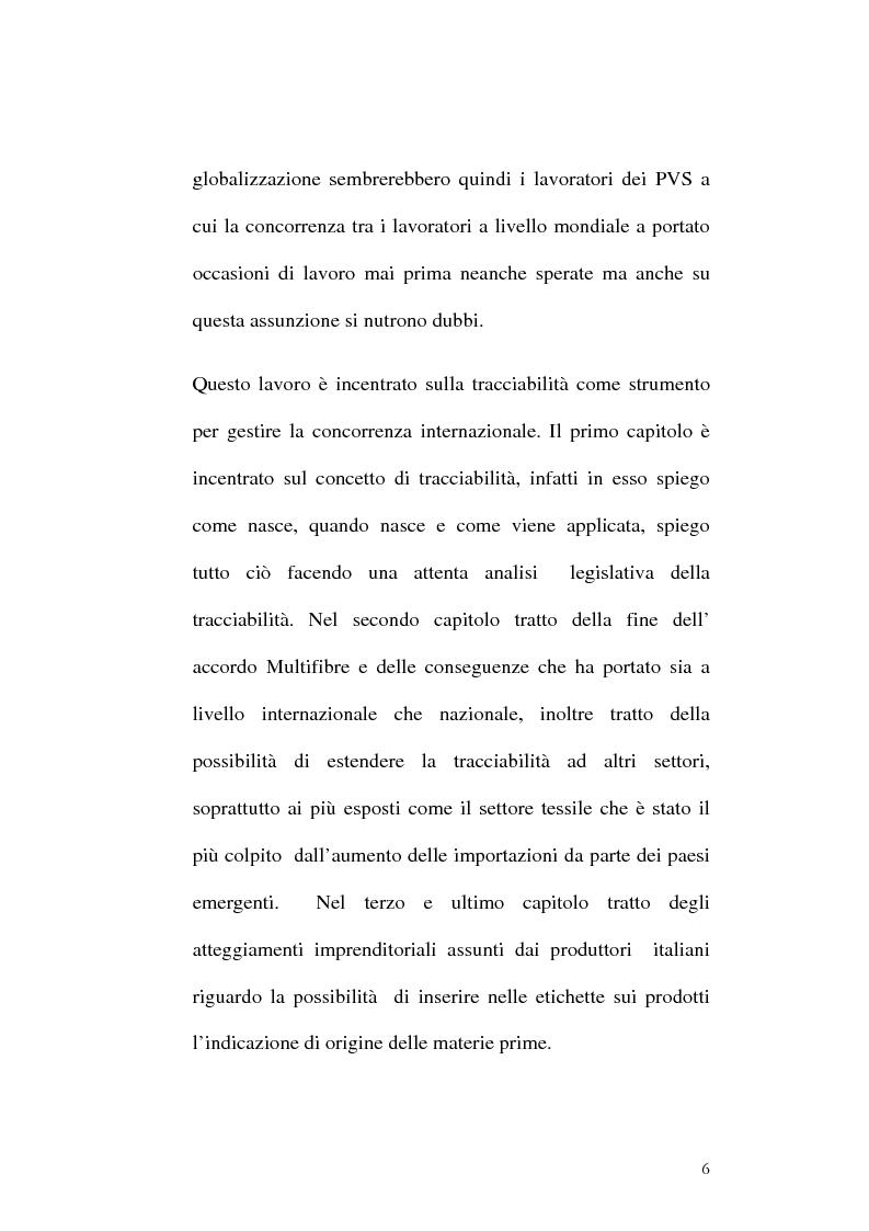 Anteprima della tesi: Tracciabilità: Uno strumento per gestire la concorrenza sul mercato internazionale, Pagina 4