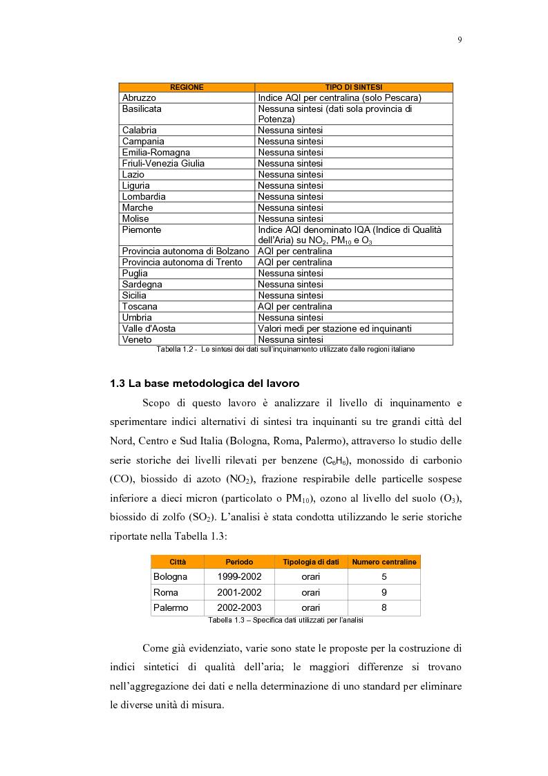 Anteprima della tesi: Confronto tra indici sintetici sulla qualità dell'aria e loro variabilità sul territorio, Pagina 5