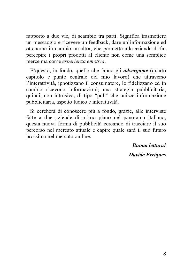 Anteprima della tesi: Advergame: quando la pubblicità diventa un gioco, Pagina 4