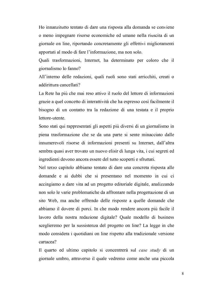 Anteprima della tesi: Dinamiche e frontiere del giornalismo on line. Il caso del Giornale dell'Umbria., Pagina 3
