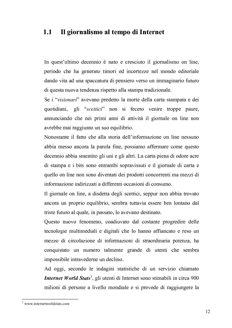 Anteprima della tesi: Dinamiche e frontiere del giornalismo on line. Il caso del Giornale dell'Umbria., Pagina 7