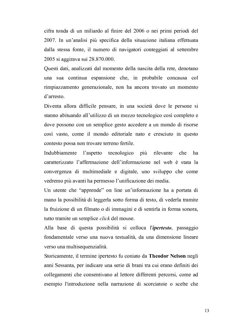 Anteprima della tesi: Dinamiche e frontiere del giornalismo on line. Il caso del Giornale dell'Umbria., Pagina 8
