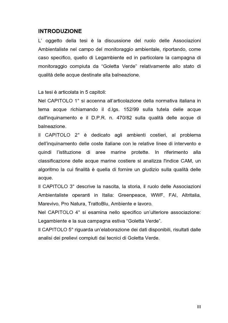 """Anteprima della tesi: Il ruolo delle Associazioni Ambientaliste nel monitoraggio ambientale. Le acque di balneazione: il caso """"Goletta Verde""""., Pagina 1"""