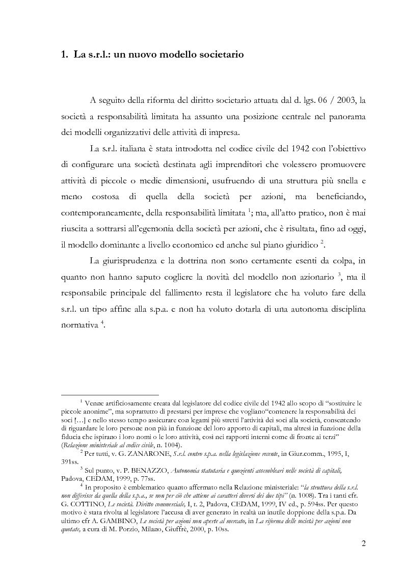 Anteprima della tesi: La responsabilità del socio nella s.r.l., Pagina 1