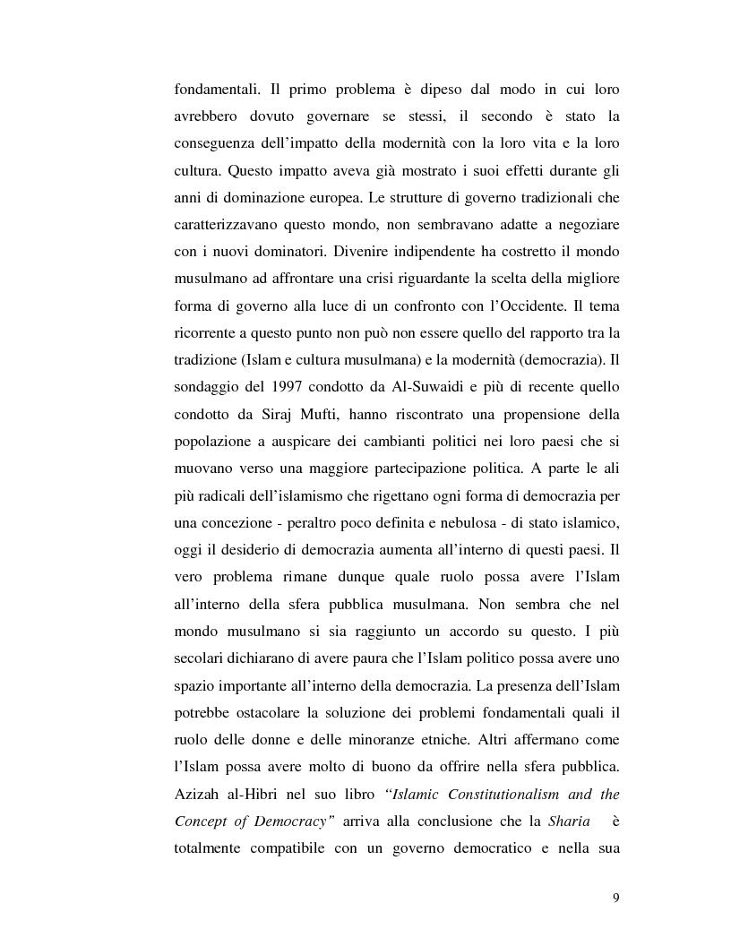 Anteprima della tesi: Istituzioni democratiche vs Democrazia. Il caso dei paesi musulmani, Pagina 5