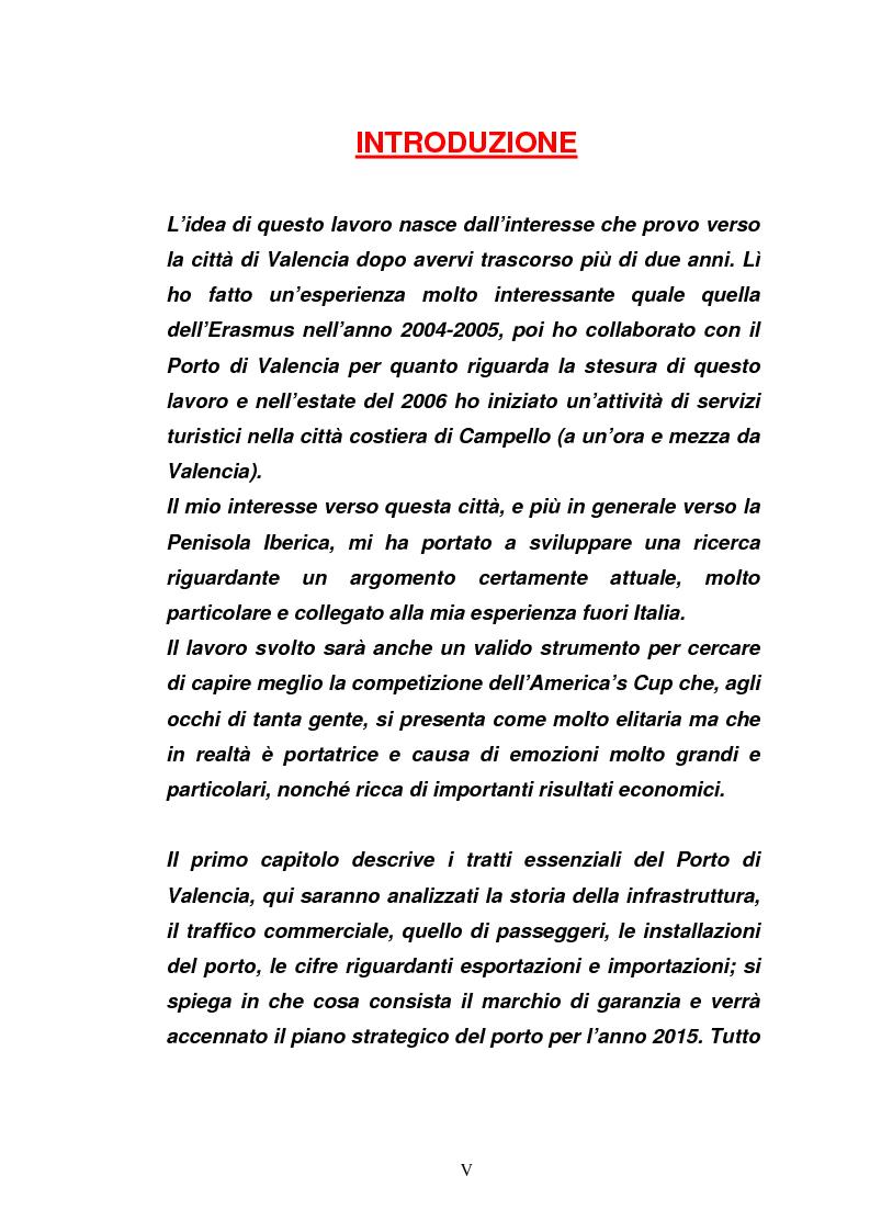 Anteprima della tesi: Il porto di Valencia e gli effetti della America's Cup, Pagina 1