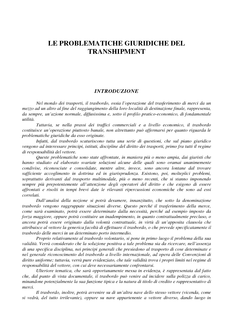 Anteprima della tesi: Le problematiche giuridiche del transhipment, Pagina 1
