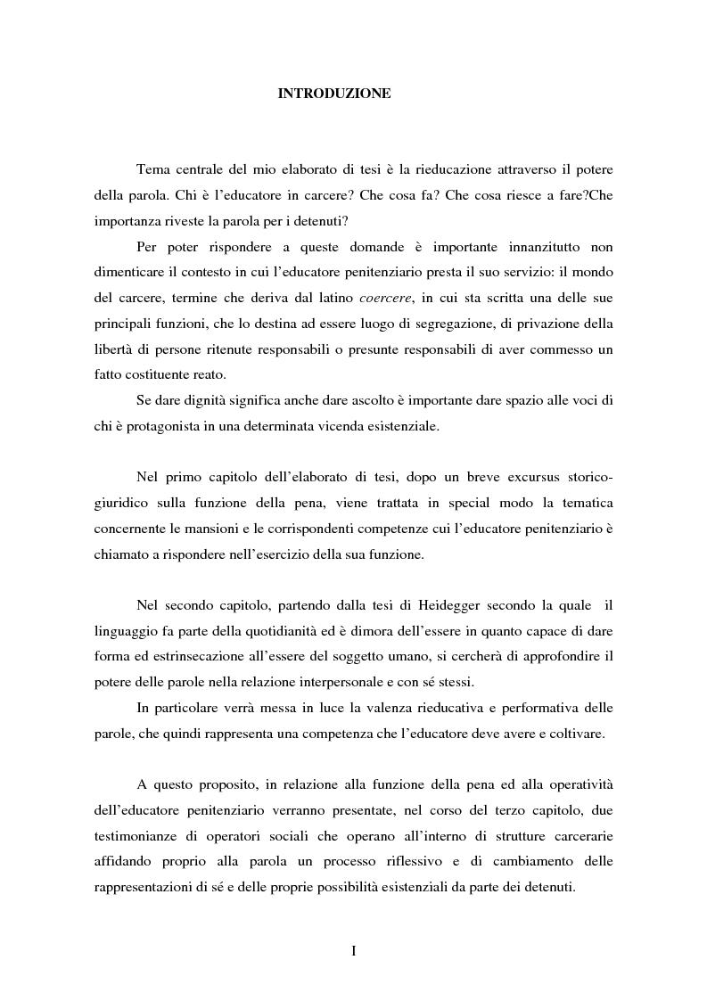 Anteprima della tesi: Parole concave per accogliere rinnovati orizzonti di senso. Il valore della parola nell'esperienza rieducativa del carcere., Pagina 1