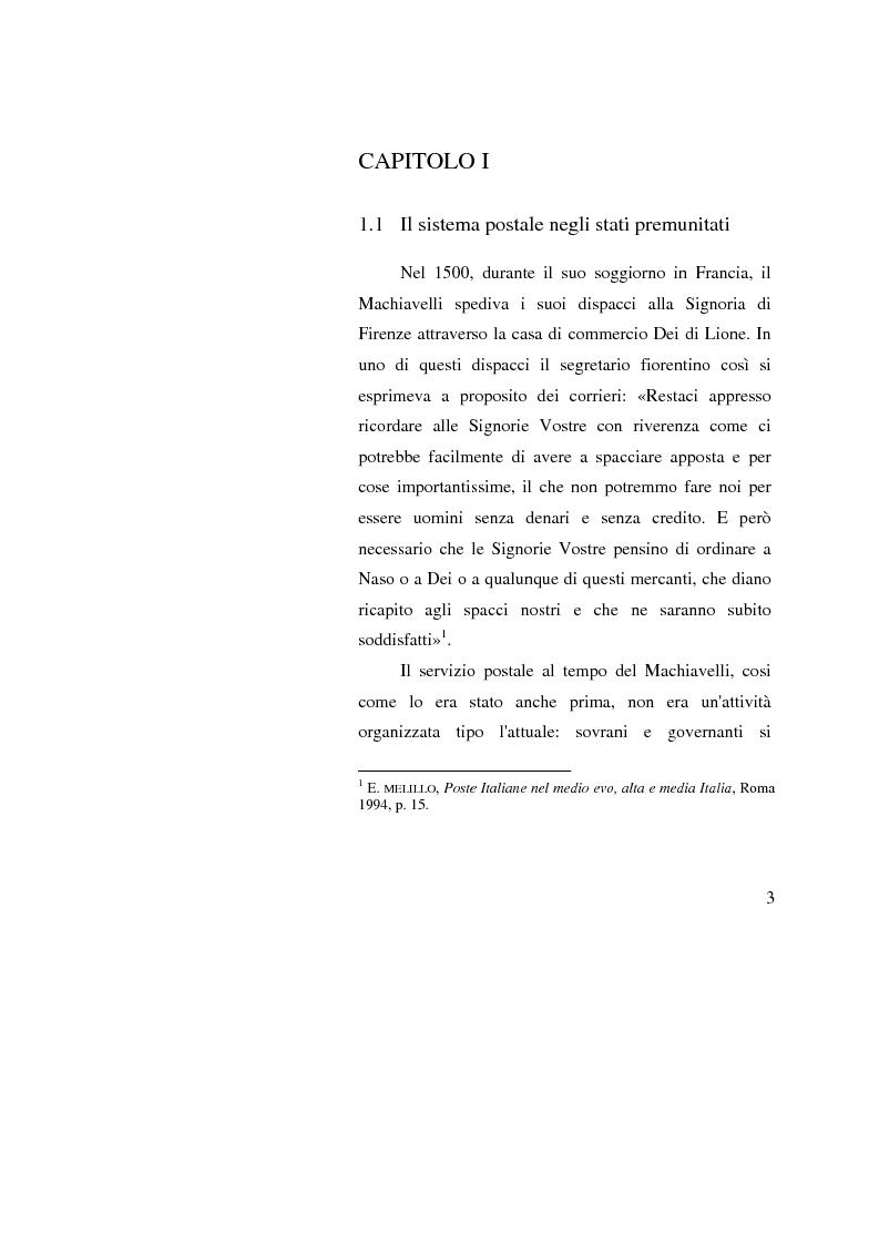 Anteprima della tesi: Poste Italiane: da servizio pubblico a sistema d'impresa, Pagina 1