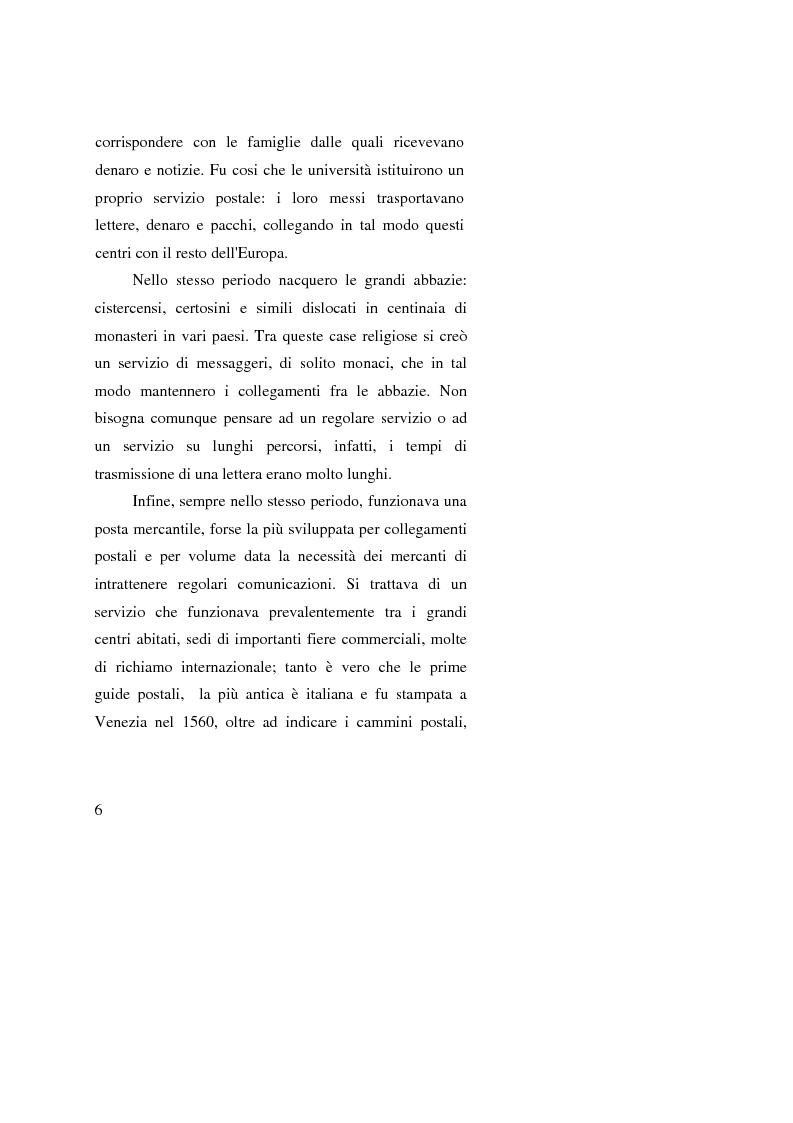 Anteprima della tesi: Poste Italiane: da servizio pubblico a sistema d'impresa, Pagina 4