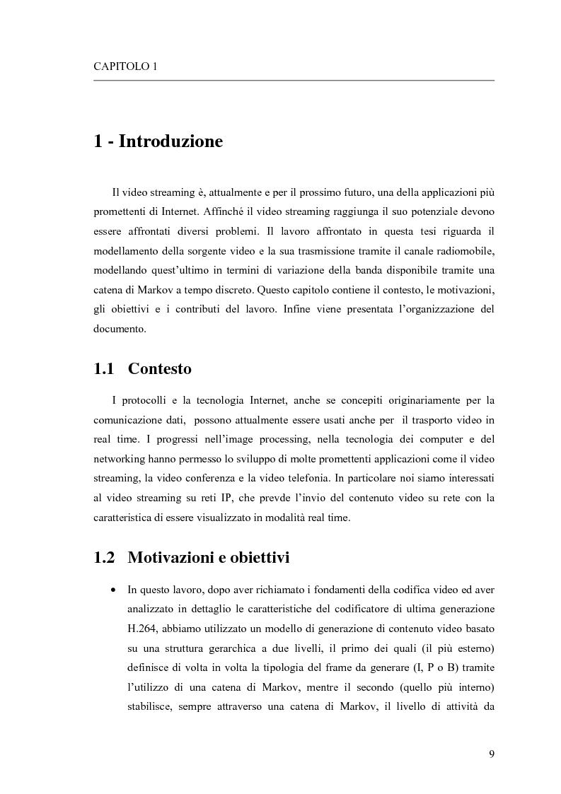 Anteprima della tesi: Adattamento congiunto delle tecniche di codifica di sorgente e delle modalità trasmissive per il trasferimento di segnali video su canale radiomobile, Pagina 1