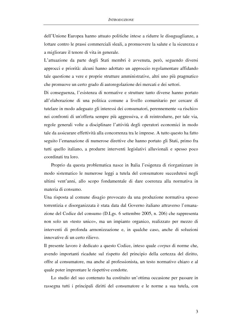 Anteprima della tesi: Il Codice del consumo. D.Lgs. 6 settembre 2005, n. 206, Pagina 2